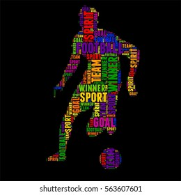 soccer football Typography word cloud colorful Vector illustration