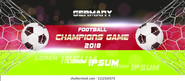 Soccer or Football wide Banner With 3d Ball on flag of germany background. Germany football game match goal moment with realistic ball in the net and place for text.