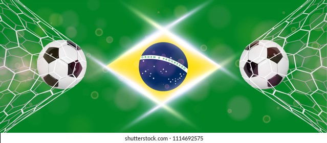 Soccer or Football wide Banner With 3d Ball on blue background and flag of Brasil. Football game match goal moment with realistic ball in the net and place for text.