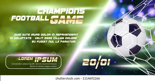 Soccer or Football wide Banner or flyer design with 3d ball on golden blue background. Football game match goal moment with realistic ball in the net and place for text.