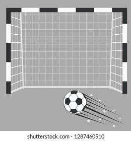 Soccer Futsal Goal with ball, Footsal Football goalpost with net on a game stadium background. Sport playground. Vector
