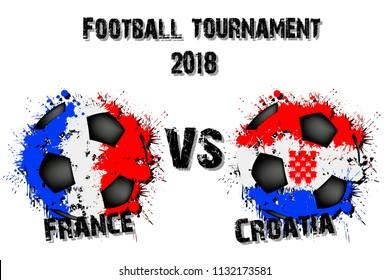 Soccer game France vs Croatia. Football tournament match 2018. Vector illustration