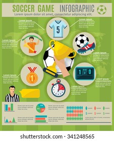 Soccer game infographic set with sport trophy symbols and charts vector illustration