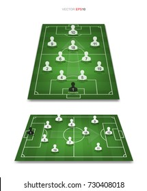 Soccer game player tactics plan on green field. Planning position for coach. Vector illustration.
