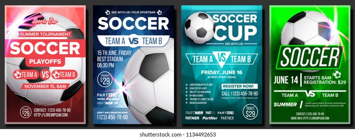 Soccer Game Poster Set Vector. Modern Soccer Tournament. Design For Sport Bar, Pub Promotion. Football Ball. Sport Event. Competition Announcement. Banner Advertising. Template Illustration