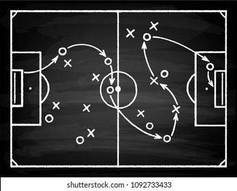 Soccer game tactical scheme. Football players frame and strategy arrows on chalk black board, plan of action formations. Vector chalk style cartoon illustration on black background