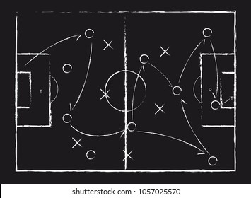 Soccer game tactical scheme. The scheme of the game. Strategy. Tactics. On the chalkboard. For your design. Vector chalk graphic on black board