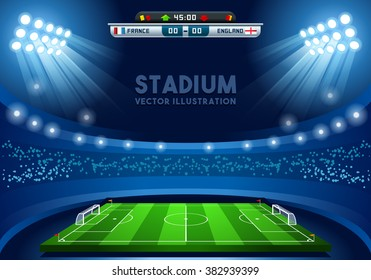 Soccer game Vector Stadium light Score Board Scoreboard Field Background. 3D Stadium Football Infographic Illustration Building International Football Russian Championship Russia 2018 Soccer Cup 3D