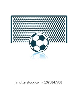 Soccer Gate With Ball On Penalty Point Icon. Shadow Reflection Design. Vector Illustration.