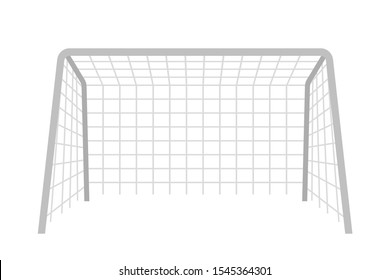 Soccer gate flat vector illustration. Goalpost with net isolated clipart on white background. Outdoor active sport, competitive game. Football pitch equipment. Hobby, leisure activity design element