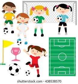 Soccer Girl Vector Illustration