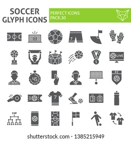 Soccer glyph icon set, football symbols collection, vector sketches, logo illustrations, sport game signs solid pictograms package isolated on white background, eps 10.