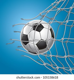 Soccer Goal. Soccer ball or football breaking through the net of the goal. Vector illustration