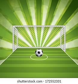 Soccer goal and ball, vector illustration