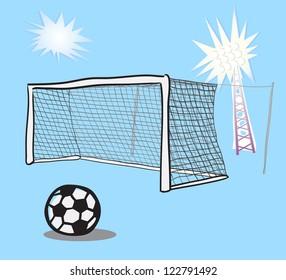 Soccer goal doodle.