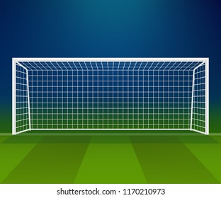 Soccer Goal, Football goalpost with net on a game stadium background. Sport playground. Vector