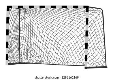 Soccer goal net construction vector silhouette illustration isolated on white background. Handball vector construction with net. Footsal goal.   Empty football goal.