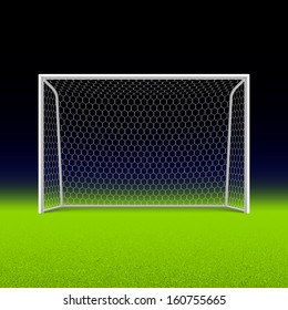 Soccer goal on black. Vector.