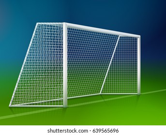 Soccer goal post with net, side view. Association football goal on field. Best vector illustration for soccer, sport game, football, championship, gameplay, etc