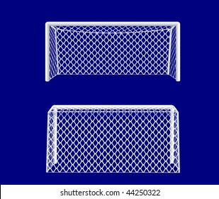 Soccer goal realistic front and back views. Vector illustration.