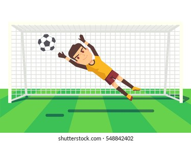 Soccer goalkeeper catching a ball illustration.
