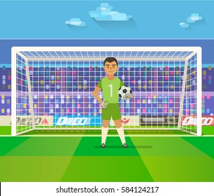 Soccer goalkeeper keeping goal on arena vector illustration. Flat. Football keeper in frame.