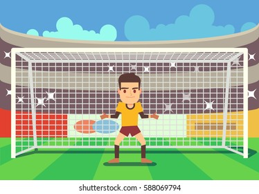 Soccer goalkeeper keeping goal vector illustration
