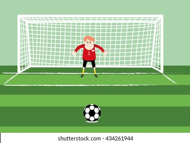 soccer goalkeeper preparing for a penalty kick on the gate