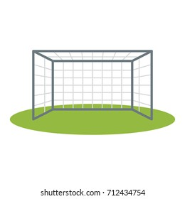Soccer goalpost icon vector illustration for design and web isolated on white background. Association football goal on field. Vector illustration for soccer, sport game, championship, gameplay, etc.