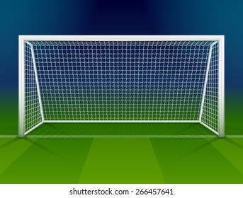 Soccer goalpost with net. Association football goal on field. Qualitative vector illustration for soccer, sport game, championship, gameplay, etc. It has transparency, blending modes, gradients