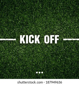 soccer grass with white line kick off text