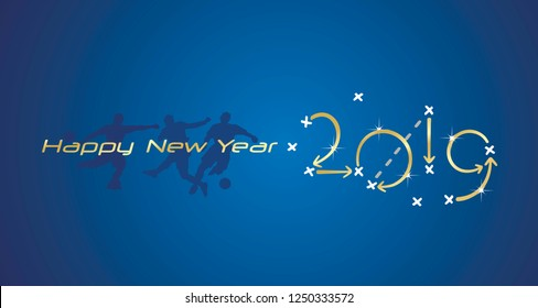 Soccer Happy New Year strategy 2019 gold blue board background