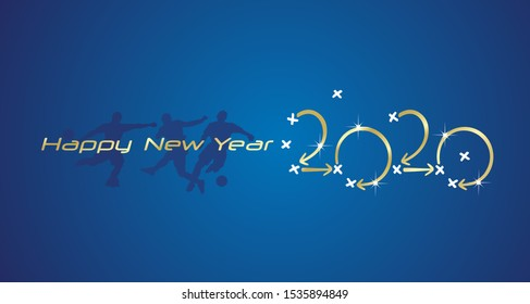 Soccer Happy New Year strategy 2020 gold blue board background