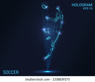 Soccer hologram. Digital and technological background of football. A football player hits his head