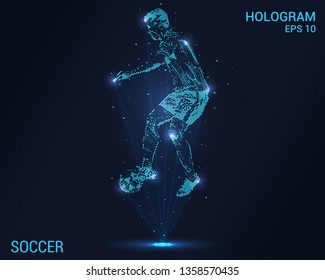 Soccer hologram. Holographic projection of football. Flickering energy flux of particles. Scientific design soccer