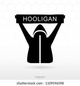 Soccer hooligan icon. Soccer football sport sign and symbol for template design. Vector illustration.
