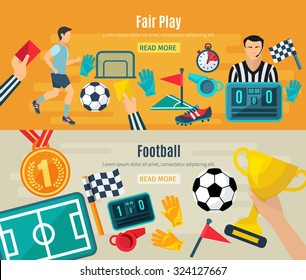 Soccer horizontal banner set with fair football play elements isolated vector illustration