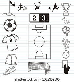 Soccer icon. Football elements and play field, scoreboard
