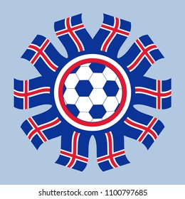 Soccer icon Iceland. Vector image of a soccer ball framed with flags of Iceland.