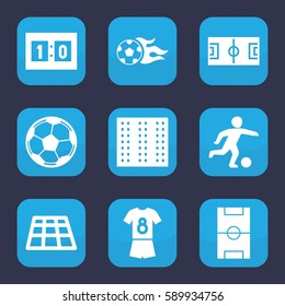 soccer icon. Set of 9 filled soccer icons such as field, football pitch, football ball, sport score, fotball
