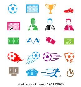Soccer Icons color set. Illustration eps10