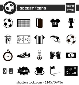 Soccer icons on isolated background. Football icons set. Vector illustration
