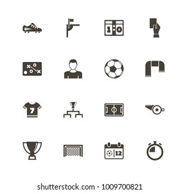 Soccer icons. Perfect black pictogram on white background. Flat simple vector icon.