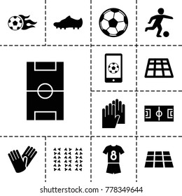 Soccer icons. set of 13 editable filled soccer icons such as gloves, dance floor, football pitch, football ball, soccer trainers, fotball