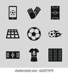 Soccer icons set. set of 9 soccer filled icons such as field, gloves, football pitch, football ball, fotball