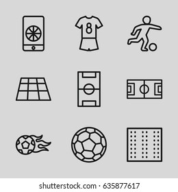 Soccer icons set. set of 9 soccer outline icons such as field, football pitch, football ball, fotball
