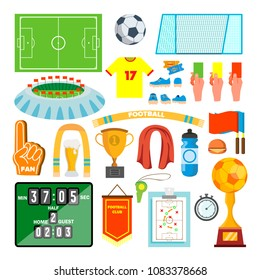 Soccer Icons Set Vector. Soccer Accessories. Ball, Uniform, Cup, Boots, Scoreboard, Field. Isolated Flat Cartoon Illustration