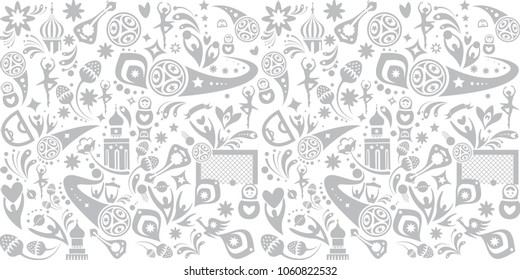 Soccer international world, cup competition hand drawn seamless abstract folk art doodle background goal sports, award cup, soccer ball symbols, dynamic football shapes lines typography t-shirt design