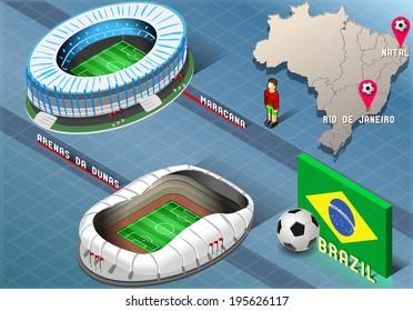 Soccer Isometric Stadium of Natal and Rio De Janeiro, Brazil
