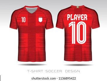 d56635992 Soccer jersey fabic. Red and white layout football sport t-shirt design.  Template